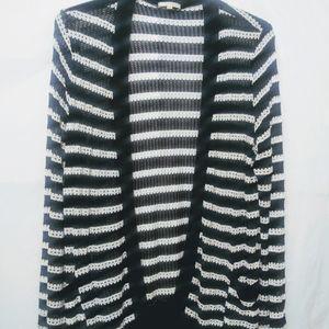 Pleione Stripe Open Front Cardigan